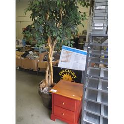 ARTIFICIAL TREE AND 2 DRAWER PINE NIGHTSTAND