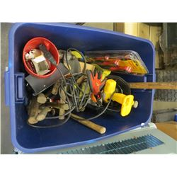 LARGE BLUE TOTE OF HAMMERS/MISC TOOLS