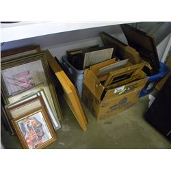 LOT OF ESTATE PICTURES AND VINTAGE FRAMES