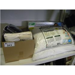 BOX OF ASSORTED SHOWER CURTAINS/LINEN AND 3 PILLOWS