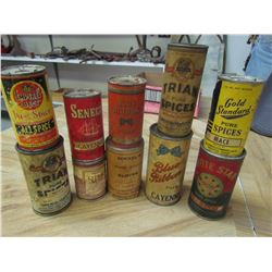 10 Spice containers - Blue ribbon, White stone, etc.