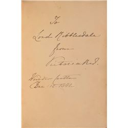 Queen Victoria Signed Book Inscribed to Lord Ribblesdale