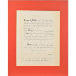 King George V Signed Document