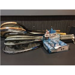 LOT OF ASSORTED RACQUETS AND BALLS
