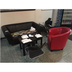 FURNITURE IN LOBBY INCL. BLACK LOVESEAT, RED CHAIR, SOME TABLES AND BULLETIN BOARDS