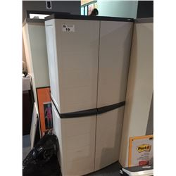 ASSORTED OFFICE FURNITURE INCL. DESKS, CHAIRS, FILE CABINETS AND A PLASTIC STORAGE CABINET