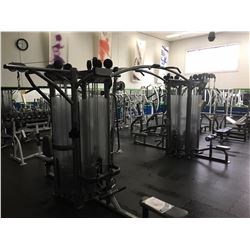PAIR OF 4 STACK MULTI-STATIONS CONNECTED WITH BRIDGE INCL. VERTICAL ROW / DELT, LAT PULL DOWN,