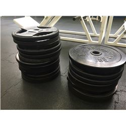 17 ASSORTED 45 LB. FREE WEIGHTS