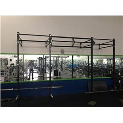 LARGE ADJUSTABLE 2 STATION SQUAT RACK WITH CHIN UP BAR AND 2 45LB. BARS