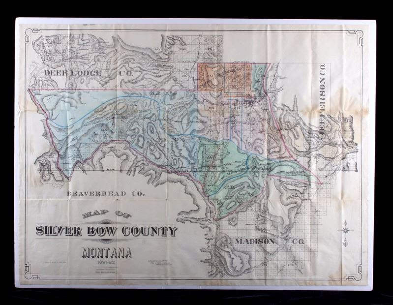 1892 Silver Bow County Butte Montana Map