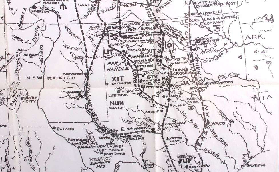 Early S Texas Trails Map - Chisholm trail map