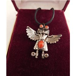 Sterling Silver & Coral Eagle Dancer Pendant