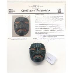 Olmec Jade Maskette w/John Jordan COA