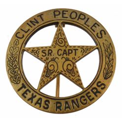 Texas Ranger Clint Peoples Gold Sr. Captain Badge
