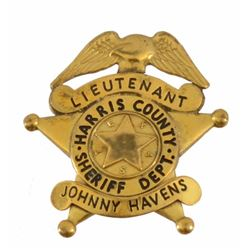 LT Johnny Havens Harris Co. Sheriffs Badge