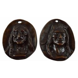 Charles M Russell Pair of Bronze Indian Plaques