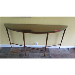 Terris Draheim Entry Table - Steel w/Hand Buffed Lacquer Finish, Glass Over Metal Top, W: 66 D: 16.5