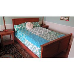 "Queen Bed - Black Cherry Wood Bed Frame, McKinnon ""Prairie"""
