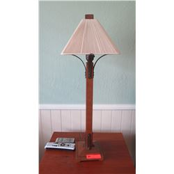 """Pair: Wood Table Lamps w/Cream Fabric Shades, H: 32.5"""", Shade 11"""" Square"""