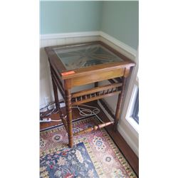 Wooden Nightstand w/Glass Top, Carved Accents