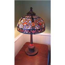 "Pair: Tiffany-Style Lamps - Bronze & Multicolored Stained Glass from Bay Lighting, 26.5"" H, Shade 15"