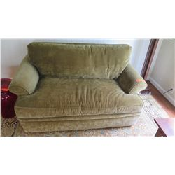 """Chair & A Half"" Twin Sofa Sleeper - Green Velvet w/Cherry Feet, Mckinnon ""Carter"" W: 61"" D: 38"" H:"