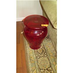 """Bohem"" Red Acrylic Stool, Wide Top, Philippe Starck Design H: 18.5 ,  Dia: 11"