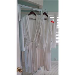Qty 2 White Bath Robes - One Size, Used