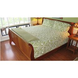 King Size Sleigh Bed - Wood Frame, Includes Mattress