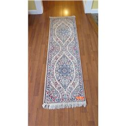 "Qty 2 Persian Nain Rug – Charles Roberts, Cream, Blue, Red, 20""x59"""