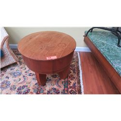"Round Contemporary Side Table - Natural Mahogany w/Lid, Klazo ""Taboret"", H:20 , Dia:24"