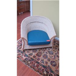 "Woven Water Hyacinth Armchair - ""Asia Tides"", Roche Bobois, w/Blue Leather Cushion W:33"" D:29"" H:28"""