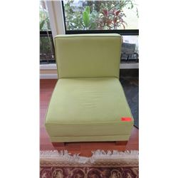 "Green Ultra Suede Slipper Chair - ""Hasley"", SDH Design, W:29"" D:30"" H:29"""