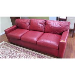 "Queen Sleeper Sofa - Distressed Leather, Merlo w/Dark Cherry Feet, ""Cavalier"" Chesterfield, SDH Desi"