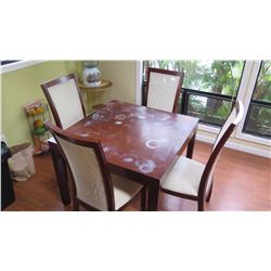 "Dining Table & 4 Cane-Back Chairs,""Vinoti"", W:39"" D:39"" H:30"" (has water rings)"