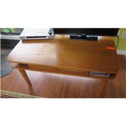 "Cherrywood TV Table - Converts to Desk w/4 Leg Extensions w/Wheels, 2 Drawers, W:45"" D:25.5"" H:23"""