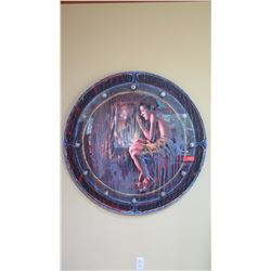 "Round Painting on Wood w/ Painted Acrylic Overlay, by David Campbell Wilson, circa 1995, 47"" Dia."