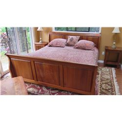 King Size Bed - Wood Frame, Includes Mattress