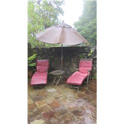 "Qty 2 Slatted Teak Deck Chaise, W:24.5"" L:62"" H:36"" (umbrella not included)"