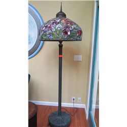 "Tiffany-Style Stained Glass Lamp - Iris Pattern, Base (26"" dia) H: 77"", Shade 26"" dia."
