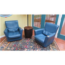 "Pair of Blue Leather Armchairs - Roche Bobois ""Winston"", w/Lumbar Cushion, W:31"" D:33"" H:32"""