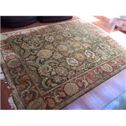 Persian Rug - Green, Red, Cream, 97X 126 (has small section on one edge missing)
