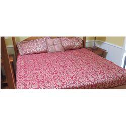 King Size Comforter Cover and Matching Pillows - Red/White Pattern