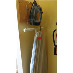 Iron, Ironing Board and Wooden Hangers