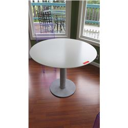 "Round Metal Pedestal Table - Seats Four, H:28.5"", Dia: 35"", ""Zero"" Design Within Reach"