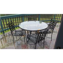 "Patio Set: Table & 4 Chairs –Iron Frame w/Glass Top 49"" dia, H:32"", Koehnen's ""Tuscany"", Weather Res"