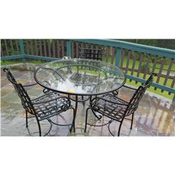 "Patio Set: Table & 3 Chairs –Iron Frame w/Glass Top 49"" dia, H:32"", Koehnen's ""Tuscany"", Weather Res"