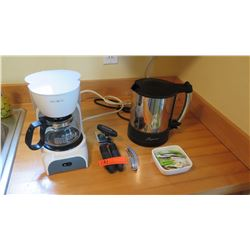 Coffee Maker, Can Opener, Electric Kettle, Sugar Tray, 3 White Mugs