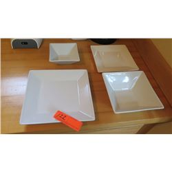 Set of White Square Dishes - 6 Lrg Plates, 4 Sml Plates, 4 Sml Bowls, 5 Lrg Bowls