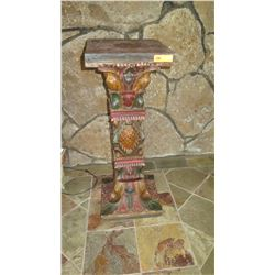 "Pair: Carved, Painted ""Jackfruit"" Wood Pedestal, W:16"" D:16"" H:42"" Jeanne Marie Imports"